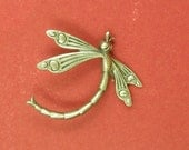 Art Deco Dragonfly - Sterling Silver Plated Brass - 30x30mm  x1