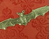 Bat in Flight Ox Silver Pendant, Charm, Stamping - Wing Span 4-3/4 Inches  Fabulous