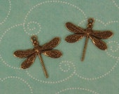 2 Detailed Dragonfly Charm, Pendant, Stamping - Ox Brass 16x17mm  Beautiful