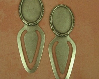 2 Bookmarks with 18x13mm Setting - Ox Sterling Silver over Brass  - Great Gifts for Holidays Teachers, Bus Drivers, Grandmothers