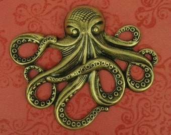 1 Large Octopus Pendant Stamping - Ox Brass - 64x50mm