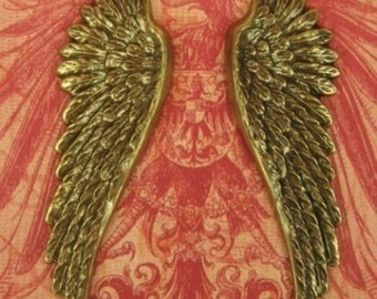 Large Brass Wing Charm Stamping  Angel Bird - Ox Brass - 2 Inches