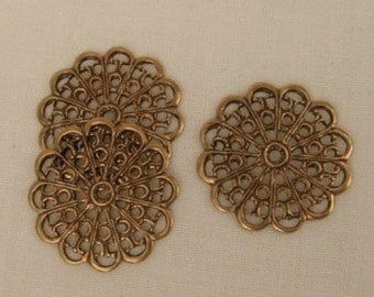 Round Flat  Flower Filigrees - Ox Brass - 20mm, X4, for Bobby Pins and Rings