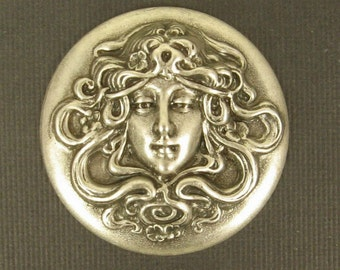 Lovely Repousse Stamping of Maiden with Flowing Hair - Sterling Silver Plated on Brass - 35mm, Alphonse Mucha Woman Art Nouveau Jewelry