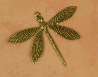Large Antiqued Brass Dragonfly Charm, Pendant, Highly Detailed 65x51mm, Art Nouveau Style, Focal Piece for Necklace