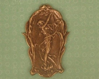 Art Nouveau Style Lady in a Lily - Ox Brass Stamping, 61mm Tall  Exxquisite STB17