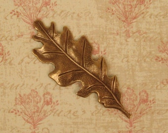 White Oak Leaf Pendant Stamping - Ox Brass - 55mm