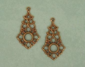Openwork Pendants Drops - Antique Brass - 32 mm, Earring Drops X4
