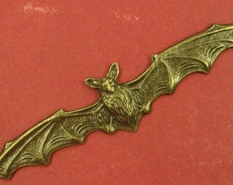 Large Oxidized Brass Finely Detailed Bat Pendant/Stamping,  4-3/4 Wingspan - Awesome