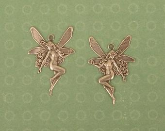 2 Small Nouveau Fairy Charms/Pendants - 26x17mm - Antique Silver