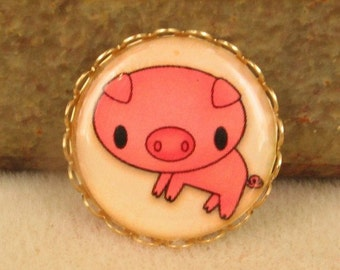 1 Resin Cameo Farm Babies - Pig - One Inch Brass Setting   Adorable