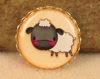 1 Resin Cameo Farm Baby - Lamb - One Inch Ox Brass Setting  Adorable