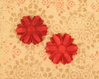 2 Vintage  Plastic Red Flower - 32mm - from Japan