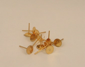 Super Nice Gold Plated Ear Posts - 8mm Pad   x10