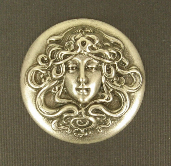 Lovely Repousse Stamping of Maiden with Flowing Hair - Antiqued Silver - 35mm