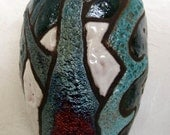 Raku Cup or Flower Vase no lead commercially glazed inside 7x3x3""