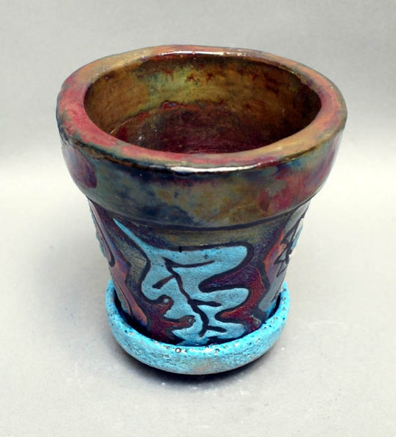 "Pottery Raku Planter Houseware Pot with Plate Gold Raku Rimmed Ceramic Art Pottery 5 1/2 x 5 x 5"""