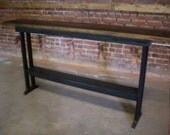 Entrance table from reclaimed barnwood.