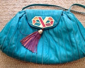 Funky 80s Retro Sharif Cyan Tassel Bag