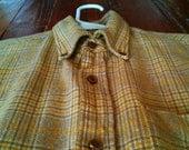Vintage Pendleton Shortsleeve Yellow Plaid Oxford Button Down Size Small