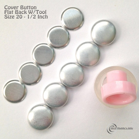 Size 20 (1/2 inch) Flat Back Cover Button Starter Kit (10)