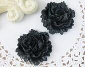 2 Pcs. 45mm Cabbage Rose Cabochon Black FL001-BL