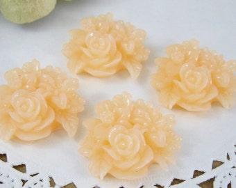 Shop Closing Sale! 4 Pcs. 25mm Peach Flower Cluster Cabochon FL011-PCH