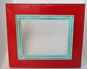 Distressed Red 8x10 Frame with Light Blue Trim (FREE SHIPPING)