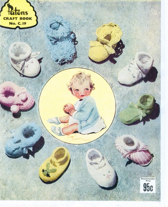 PDF Vintage Baby Bootee Knitting Pattern Book - 32 Different Designs