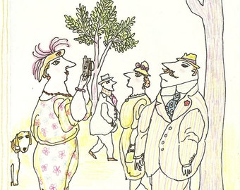 New Yorker cover by Wm. Steig shows lady snapping pix of man in park 6/27/83 Ready to frame