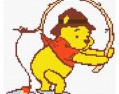 Fishing Pooh cross stitch e-pattern