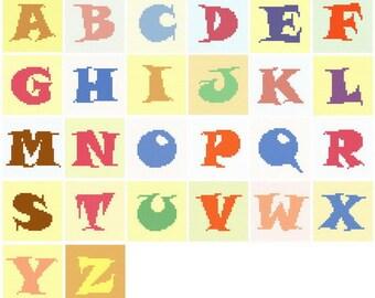 A to Z Alphabet graph pattern
