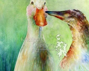 Surreal Mallard Duck Print, Archival Reproduction From A Watercolor Painting