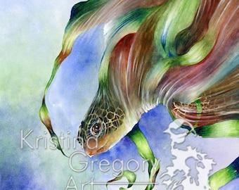 Sea Turtle, Ocean – Original Watercolor Painting 14X18