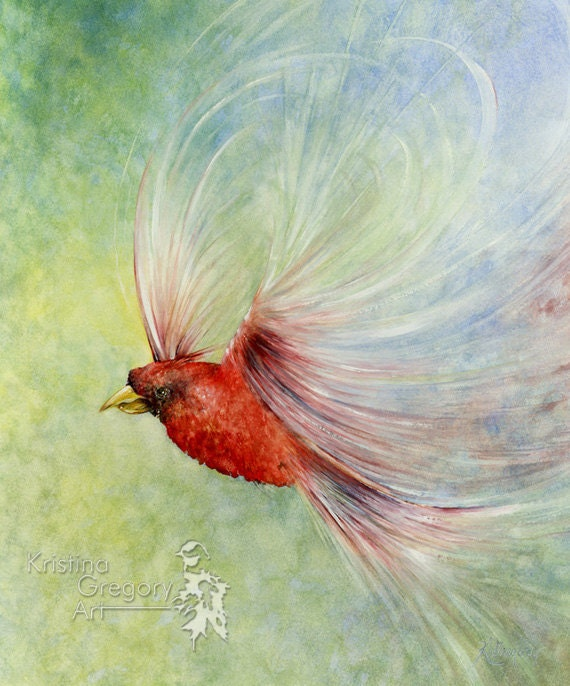 Surreal Red Bird, Cardinal Archival Print Reproduction From A Watercolor Painting