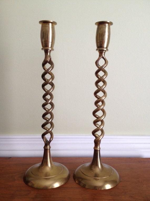 Vintage Pair of Tall Brass Barley Twist Candlesticks