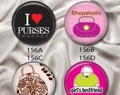 """Love To Shop For Purses - Interchangeable Magnetic Design Inserts - FIT Clique and Magnabilities 1"""" Jewelry Bases...156"""