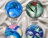 """Dolphins - Interchangeable Magnetic Design Inserts - FIT Clique and Magnabilities 1"""" Pendant Jewelry Bases...226"""