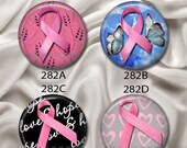 "Hope For Breast Cancer - Interchangeable Magnetic Design Inserts - FIT Clique and Magnabillities 1"" Pendant Jewelry Bases...282"