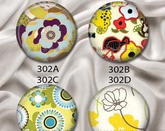 "Mod Fun Flora - Interchangeable Magnetic Design Inserts - FIT Clique and Magnabilities 1"" Pendant Jewelry Bases...302"