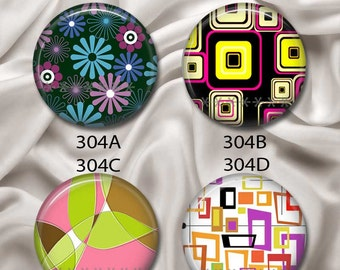 "Retro Shapes - Interchangeable Magnetic Design Inserts - FIT Clique and Magnabilities 1"" Pendant Jewelry Bases...304"