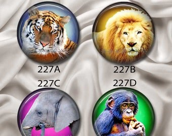 """Tiger, Lion, Elephant, Monkey - Interchangeable Magnetic Design Inserts - FIT Clique and Magnabilities 1"""" Jewelry Bases...227"""