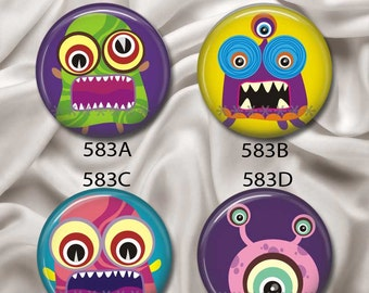 "Not So Scary Monsters - Interchangeable Magnetic Design Inserts - FIT Clique and Magnabilities 1"" Jewelry Bases...583"
