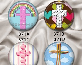 "Cute Crosses - Interchangeable Magnetic Design Inserts - FIT Clique and Magnabilities 1"" Pendant Jewelry Bases...371"