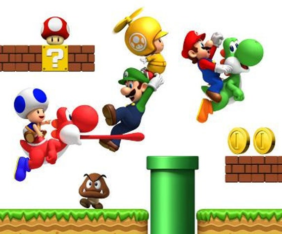 Vinyl super mario bros wall decals - Mario wall clings ...