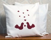LOVE BIRDS. Two pillow cases. White cream. Hand made. A couple of birds were appliqued on pillow.