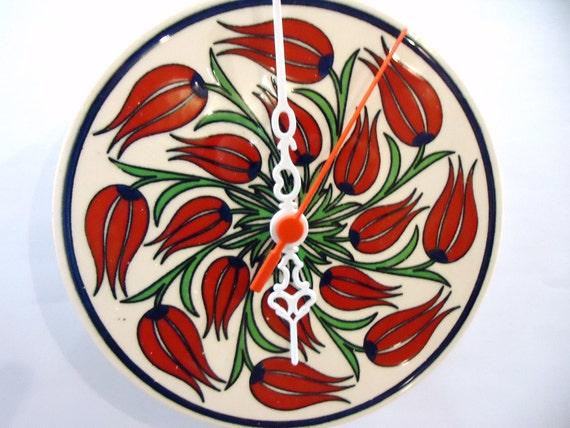 Wall Clock with wind Tulips Flower Turkish Ceramic tile