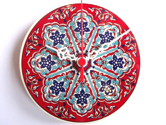 Wall Clock with Ceramic Turkish tile.. Anatolian and Ottoman patterns, 2012