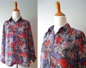Ladies Vintage Long Sleeve Button Down Abstract Patterned Black Pink Purple Grey and White Womens 80s Blouse / Small / Medium