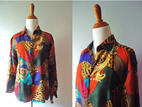 Womens Vintage Patchwork / Multicolored Victorian and Leopard Patterned Button Down Long Sleeve 100% Silk 80s Blouse / Medium / Large